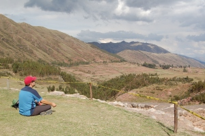 Adam meditating on the view from Puka Pukara