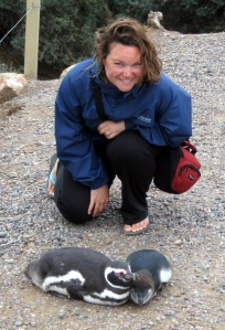 Megan with penguins