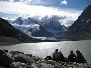 Nate, Sarah, Megan, and Adam in front of Lago Torre