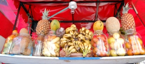 Some of the offerings from a Cartagena Juice Vendor.  From left to right: various types of oranges, zapote, pineapple on top of more zapote, mango on top of curuba, nispero (the gooey brown mess in that plastic bag), gobs of bananas (duh), mango on top of tomate de arbol, melon on top of maracuya, and pineapple on top of more oranges.  Yum.