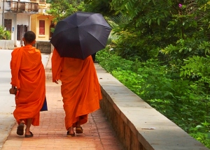 Monks strolling the streets of Luang Prabang