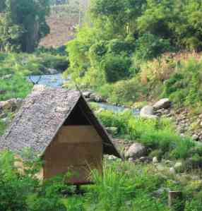 stream and hut