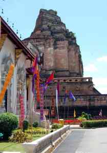 Wat Chedi Luang, decorated for the funeral of the regional chief monk.  You should have seen the crowds that turned out later in the week.  I think everyone in northern Thailand attended that funeral.
