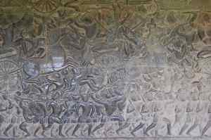 Bas relief (Carving) of battle scene (inside Angkor Wat)