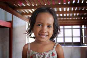 This little girl, Srei Hong, was the bravest among the little ones, and was the first to approach us.